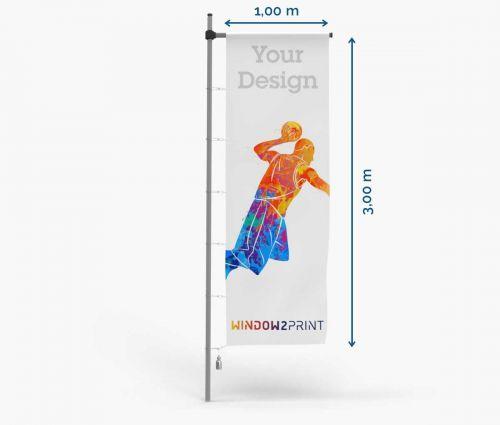 Hissfahne - 100 x 300 cm - mit Hohlsaum und Karabinerhaken I Window2Print