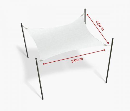 Rechteckiges Sonnensegel wasserabweisend 300 x 250 cm – Weiß