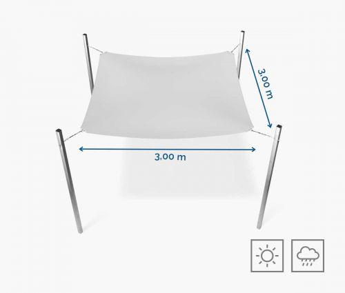 Rechteckiges Sonnensegel wasserabweisend 300 x 300 cm – Weiß