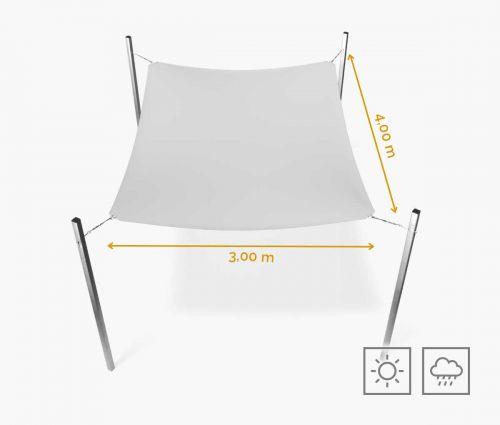 Rechteckiges Sonnensegel wasserabweisend 300 x 400 cm – Weiß