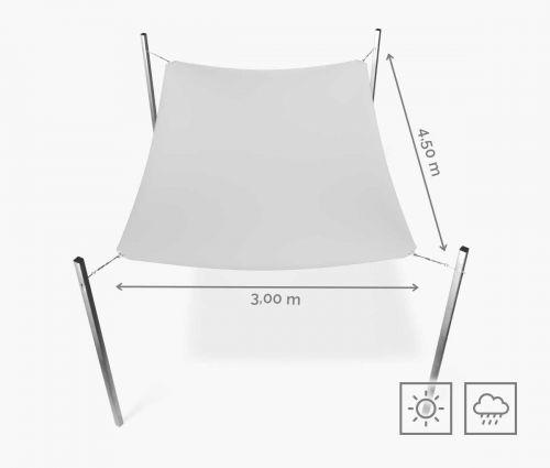 Rechteckiges Sonnensegel wasserabweisend 300 x 450 cm – Weiß