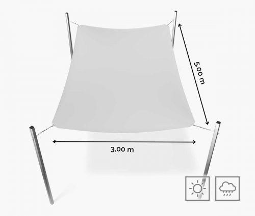 Rechteckiges Sonnensegel wasserabweisend 300 x 500 cm – Weiß