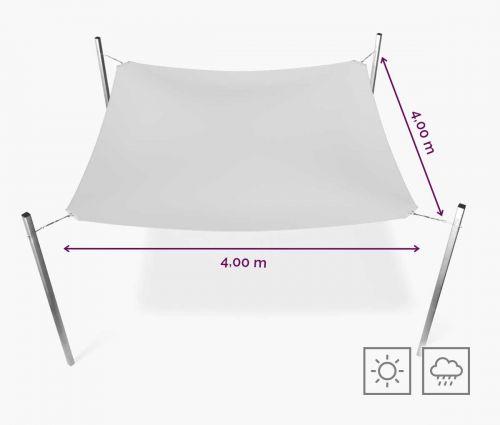 Rechteckiges Sonnensegel wasserabweisend 400 x 400 cm – Weiß