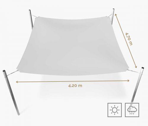 Rechteckiges Sonnensegel wasserabweisend 420 x 470 cm – Weiß